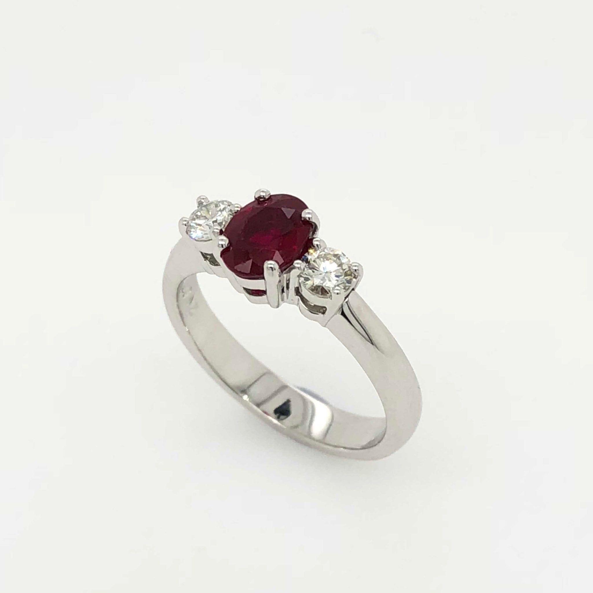 Ruby Wedding Rings.Three Stone Ruby Diamond Ring