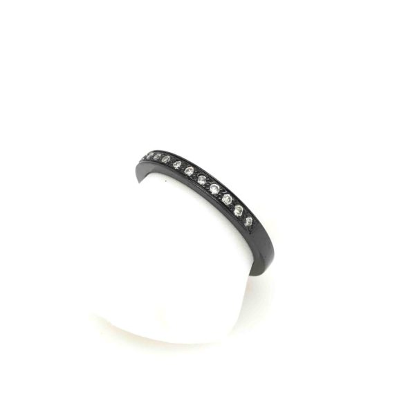 Stacker ring black and diamonds